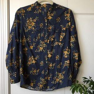 LLBean corduroy floral button up